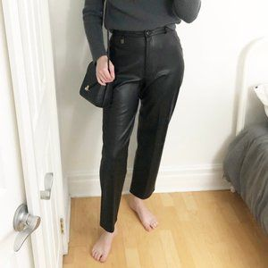 Vintage Faux Leather High Waisted Straight Pants